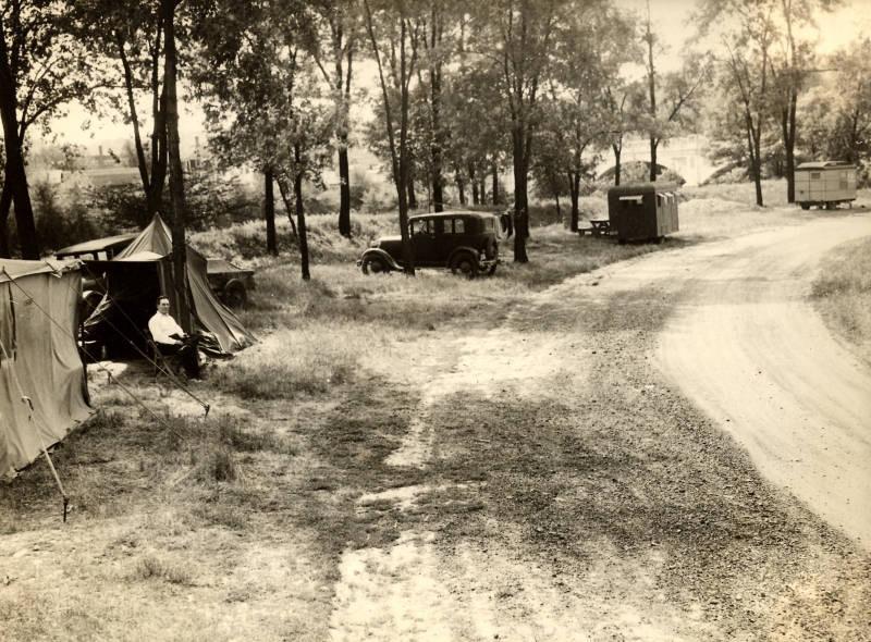 Camping at Memorial Park Tourist Camp 1934
